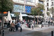 outdoor dining at Plaza Jacinto Benavente, Madrid, Spain