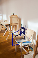 Completed furniture and designs that will be part of the spring student exhibition.