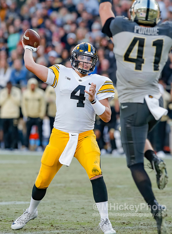 WEST LAFAYETTE, IN - NOVEMBER 03: Nate Stanley #4 of the Iowa Hawkeyes throws the ball during the game against the Purdue Boilermakers at Ross-Ade Stadium on November 3, 2018 in West Lafayette, Indiana. (Photo by Michael Hickey/Getty Images) *** Local Caption *** Nate Stanley