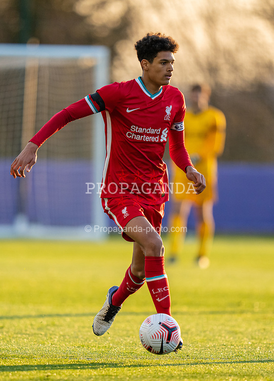 LEICESTER, ENGLAND - Friday, April 16, 2021: Liverpool's captain Jarell Quansah during the FA Youth Cup 5th Round match between Leicester City FC and Liverpool FC at the Leicester City Academy. (Pic by David Rawcliffe/Propaganda)