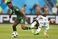 Nigeria midfielder Oghenekaro Etebo (L) and Argentina forwarder Lionel Messi (R) during the 2018 FIFA World Cup Russia, Group D football match between Nigeria and Argentina on June 26, 2018 at Saint Petersburg Stadium in Saint Petersburg, Russia - Photo Stanley Gontha / Pro Shots / ProSportsImages / DPPI