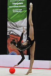 July 28, 2018 - Chieti, Abruzzo, Italy - Rhythmic gymnast Vlada Nikolchenko of Ukraine performs her ball routine during the Rhythmic Gymnastics pre World Championship Italy-Ukraine-Germany at Palatricalle on 29th of July 2018 in Chieti Italy. (Credit Image: © Franco Romano/NurPhoto via ZUMA Press)