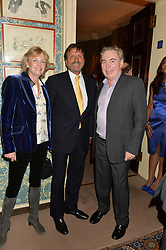 Left to right, LADY LLOYD-WEBBER, SIR ROCCO FORTE and LORD LLOYD-WEBBER at a party to celebrate the publication of Right or Wrong: The Memoirs of Lord Bell held at Mark's Club, Charles Street, London on 16th October 2014.