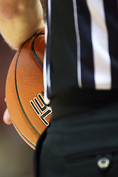 08 December 2012:  NCAA referee hold the ball during a time out during an NCAA mens basketball game between the Western Michigan Broncos and the Illinois State Redbirds (Missouri Valley Conference) in Redbird Arena, Normal IL