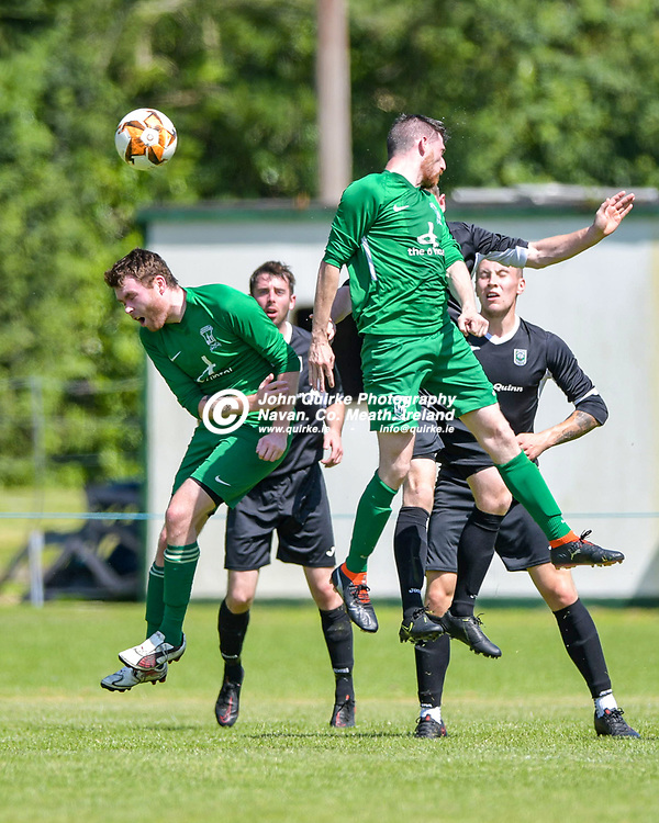 Michael Conroy (Duleek) gets his head to the ball,   during the Trim Celtic v Duleek, NEFL (Premier) match in Tully Park, Trim.<br /> <br /> Photo: GERRY SHANAHAN-WWW.QUIRKE.IE<br /> <br /> 18-07-2021