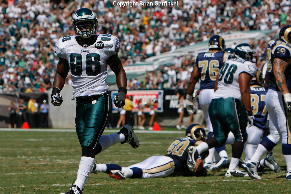 6 Sept 2008: Philadelphia Eagles linebacker Omar Gaither #96 celebrates after a play during the game against the St Louis Rams on August 28, 2008. The Eagles beat the Rams 38-3 at Lincoln Financial Field in Phialdelphia, Pennsylvania.