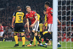 20th September 2017 - Carabao Cup (3rd Round) - Manchester United v Burton Albion - Scott McTominay of Man Utd (C) looks towards teammate Jesse Lingard - Photo: Simon Stacpoole / Offside.