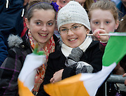 Sarah and Charlene Maloney from Dunmore at the celebrations for President Elect Michael D Higgins arriving back to Hotel Meyrick in Galway to a huge welcome. Photo:Andrew Downes