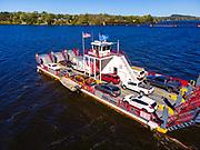 The Merrimac Ferry crosses the Wisconsin River between Merrimac and Lodi, Wisconsin, USA.