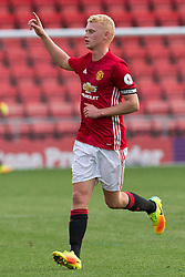 © Licensed to London News Pictures . 15/08/2016 . Leigh , UK . Mcr Utd captain JAMES WEIR . Manchester United vs Leicester City reserves at Leigh Sports Village Stadium . Photo credit : Joel Goodman/LNP