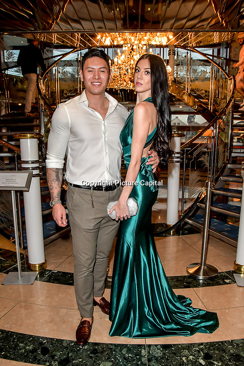 Adam Tang and Dannii Robson attend the Driving holiday experience hosts yacht party at The Sunborn Yacht, Royal Victoria Dock on 31 May 2019, London, UK.