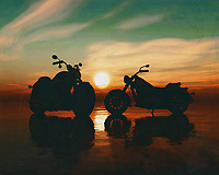 Two motorbikes on the beach at sunset<br /> Nice for the motorbike enthusiast. You see a Kawasiki and a Harley-Davidson next to each other. This painting easily brings the atmosphere of the sea to your home. This coastal scene can be printed in different sizes and on different materials. Both on canvas, wood, metal or framed so it certainly fits into your interior. –<br /> -<br /> BUY THIS PRINT AT<br /> <br /> FINE ART AMERICA / PIXELS<br /> ENGLISH<br /> https://janke.pixels.com/featured/two-motorbikes-on-the-beach-at-sunset-jan-keteleer.html<br /> <br /> <br /> WADM / OH MY PRINTS<br /> DUTCH / FRENCH / GERMAN<br /> https://www.werkaandemuur.nl/nl/shopwerk/Twee-motorfietsen-op-het-strand-bij-zonsondergang/770335/132?mediumId=15&size=70x55<br /> –<br /> -