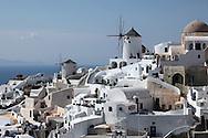 Windmills on the island of Santorini.  Photograph by Dennis Brack