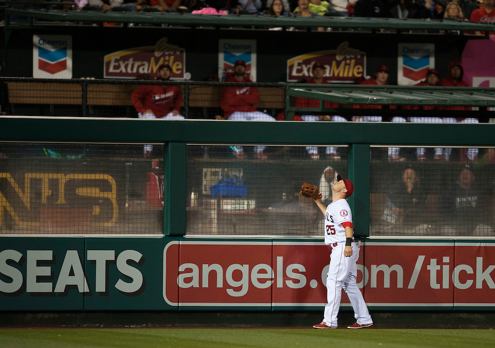 The Angels' Daniel Nava looks for the a two run home run by the Rays' Steven Souza Jr.in the sixth inning Saturday at Angel Stadium.<br /> <br /> ///ADDITIONAL INFO:   <br /> <br /> angels.0508.kjs  ---  Photo by KEVIN SULLIVAN / Orange County Register  --  5/7/16<br /> <br /> The Los Angeles Angels take on the Tampa Bay Rays at Angel Stadium Saturday.<br /> <br />  5/7/16