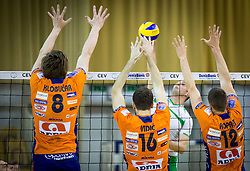 Jan Klobucar of ACH, Matej Vidic of ACH and Gregor Ropret of ACH during volleyball game between OK ACH Volley and OK Panvita Pomgrad in 1st final match of Slovenian National Championship 2013/14, on April 6, 2014 in Arena Tivoli, Ljubljana, Slovenia. Photo by Vid Ponikvar / Sportida