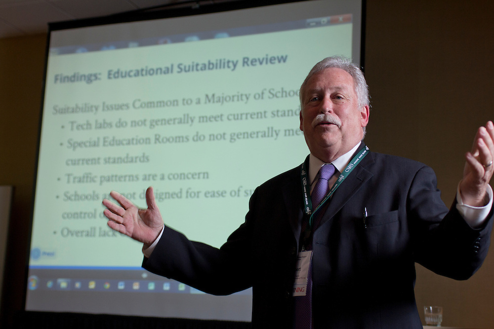 Robert Sands, HISD's officer of Construction & Facility Services, speaks at at the 2013 Council of Educational Facility Planners International Southern Region Conference about planning and passing a $1.89 billion bond referendum.<br />