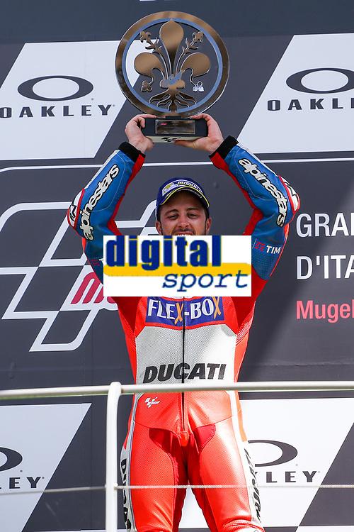 Ducati's Team rider Italian Andrea Dovizioso, winner  the Moto GP Grand Prix at the Mugello race track on June 4, 2017 and Claudio Dominicali celebrates on the podium. MotoGP Italy Grand Prix 2017 at Autodromo del Mugello, Florence, Italy on 4th June 2017. <br /> Photo by Danilo D'Auria.<br /> <br /> Danilo D'Auria/UK Sports Pics Ltd/Alterphotos