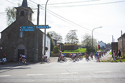 The front of the race corners during Liege-Bastogne-Liege - a 136 km road race, between Bastogne and Ans on April 22, 2018, in Wallonia, Belgium. (Photo by Balint Hamvas/Velofocus.com)