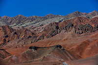 The Flaming Mountains, red sandstone hills in Tian Shan Mountain range, Xinjiang, China. They lie near the northern rim of the Taklamakan Desert and east of the city of Turpan.