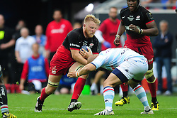 Jackson Wray of Saracens takes on the Racing 92 defence - Mandatory byline: Patrick Khachfe/JMP - 07966 386802 - 14/05/2016 - RUGBY UNION - Grand Stade de Lyon - Lyon, France - Saracens v Racing 92 - European Rugby Champions Cup Final.