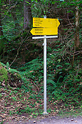 walking Path sign with distances and directions Austria, Tyrol  Zillertal forest near Mayrhofen