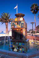 Historic colorful tile fountains along the waterfront promenade, Avalon, Catalina Island, California