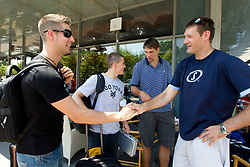 Sandi Cebular, Jaka Lakovic, Gasper Vidmar and Goran Jagodnik of Slovenia Basketball national team at departure to Rogla before World Championship in Turkey, on July 10, 2010 at KZS, Ljubljana, Slovenia. (Photo by Vid Ponikvar / Sportida)