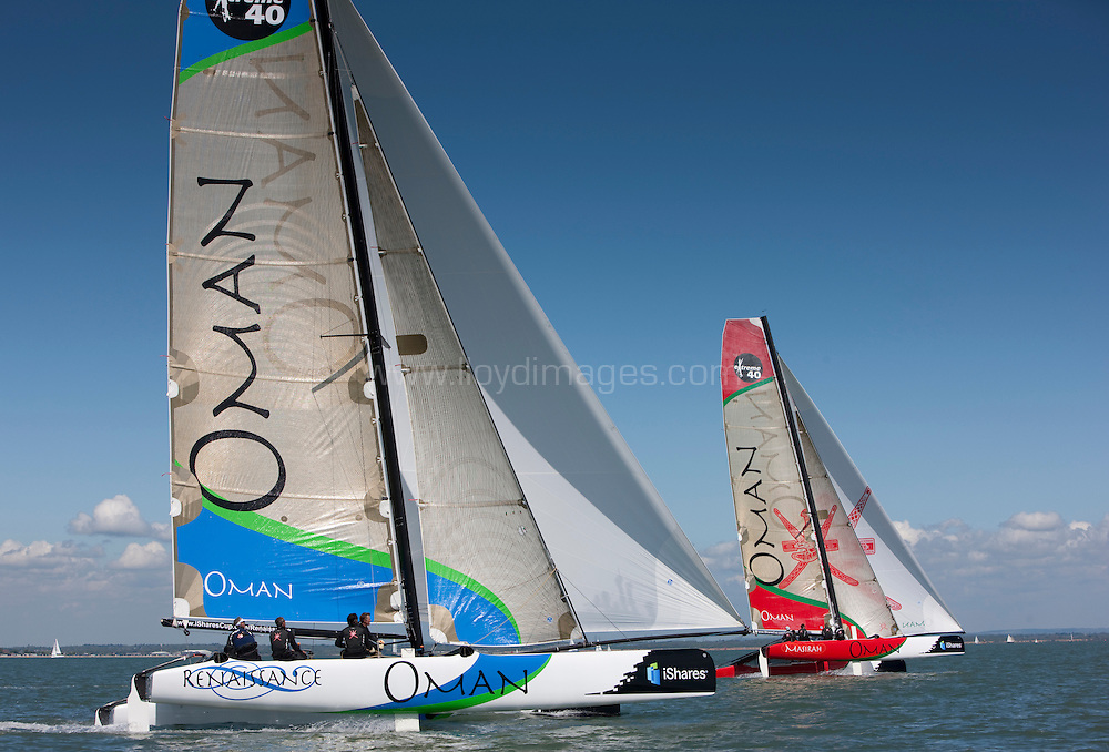 Pictures of the Oman Sail Extreme 40 Racing teams in action today. Shown here as they complete their pre season training.Hamble. UK..Please credit all pictures:Lloyd Images.