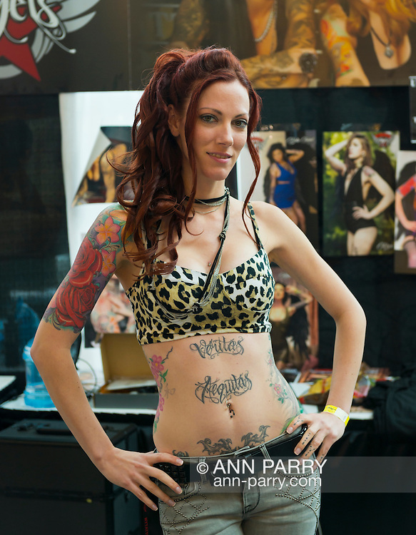 Garden City, New York, USA. 14th September 2014. LEILA-ROSE is one of the United Ink Angels at the United Ink Flight 914 tattoo convention at the Cradle of Aviation museum of Long Island.