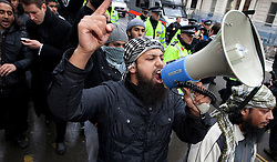© under license to London News Pictures. 11/11/2010. Muslims Against Crusaders protesters are led along Exhibition Road in Kenisngton, London, after their Armistice Day protest.