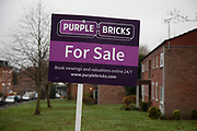 Purple Bricks For Sale sign in Moseley / Kings Heath area in Birmingham, United Kingdom. Purplebricks is a British online estate agent. Founded in 2012.