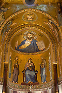 Medieval Byzantine style mosaics of Christ Pantocrator above the altar of the Palatine Chapel, Cappella Palatina, Palermo, Italy .<br /> <br /> If you prefer you can also buy from our ALAMY PHOTO LIBRARY  Collection visit : https://www.alamy.com/portfolio/paul-williams-funkystock/byzantine-art-antiquities.html . Type -    Palatine     - into the LOWER SEARCH WITHIN GALLERY box. Refine search by adding background colour, place, museum etc<br /> <br /> Visit our BYZANTINE MOSAIC PHOTO COLLECTION for more   photos  to download or buy as prints https://funkystock.photoshelter.com/gallery-collection/Roman-Byzantine-Art-Artefacts-Antiquities-Historic-Sites-Pictures-Images-of/C0000lW_87AclrOk