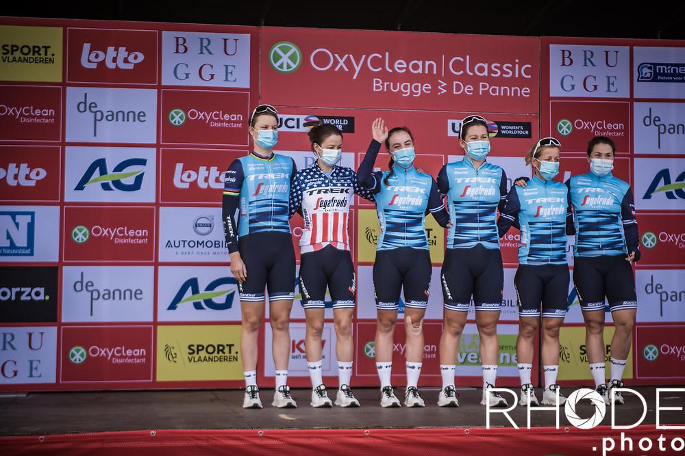Team Trek-Segafredo at the pre race team presentation<br /> <br /> Oxyclean Classic Brugge-De Panne 2021 (WE/1.WWT) - Belgium<br /> 1 day race from Brugge to De Panne (159km)<br /> <br /> ©RhodePhoto