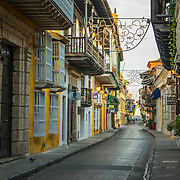 Wonderful Spanish colonial architecture is a confection in the Old City, Cuidad Vieja, Cartagena, Colombia.