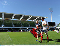 4 June 2013; Sam Warburton, British & Irish Lions, with physiotherapist Phil Pask during the captain's run ahead of their game against Western Force on Wednesday. British & Irish Lions Tour 2013, Captain's Run, Nib Stadium, Pier Street, Perth, Australia. Picture credit: Stephen McCarthy / SPORTSFILE