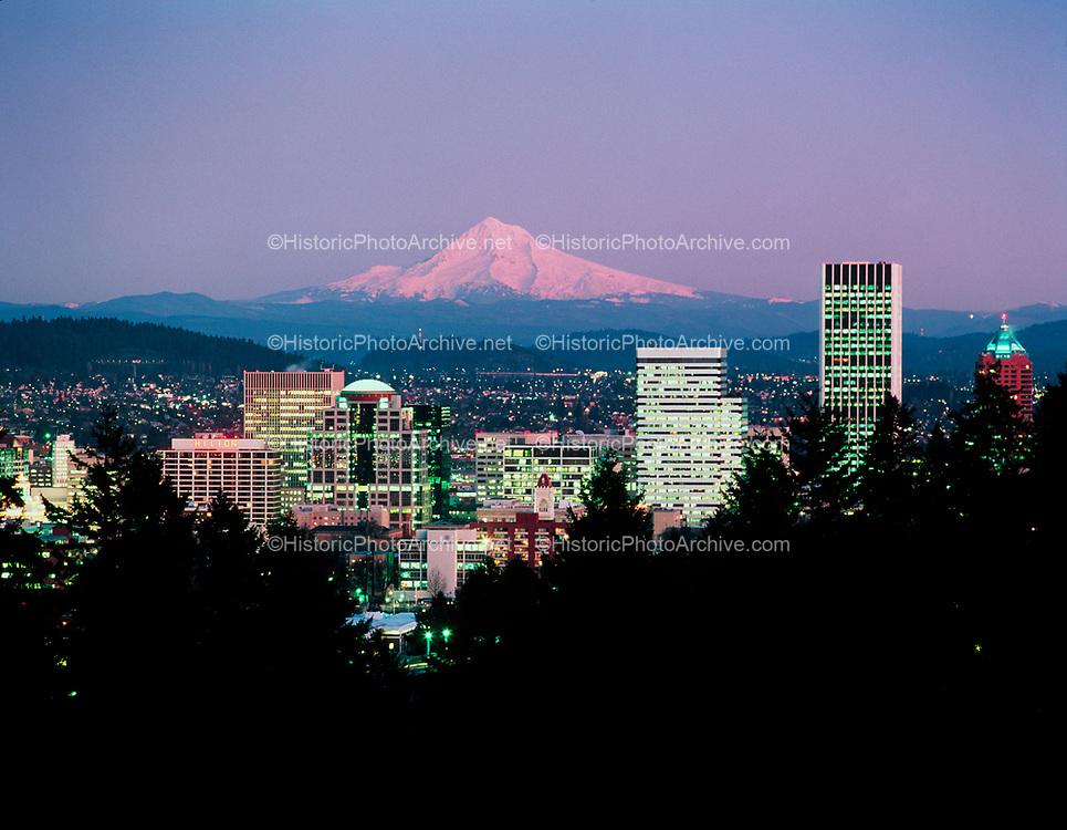 Portland twilight from Washington Park looking toward Mt. Hood.