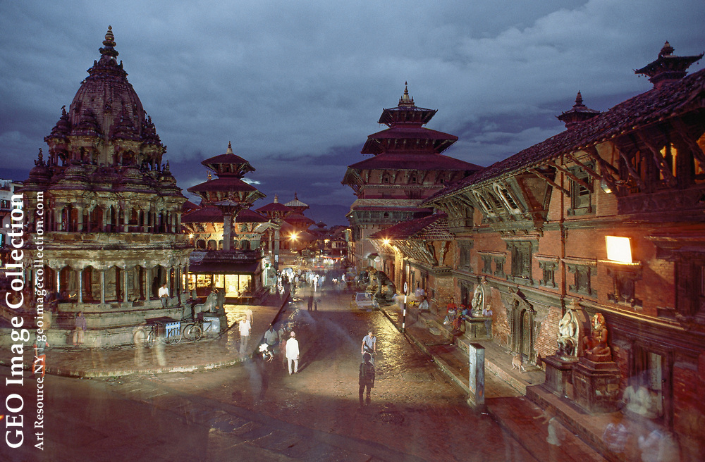 A portion of the square showing, clockwise from left to right:  the large octagonal Krishna Temple, a Mogul shikhara-style structure with stone lions at the entrance; the three-roofed seventeenth-century Hari Shankar Temple, also built by Moguls; the temple of Degu Talle, the personal deity of the Mallas (kings of Patan); and the Sundari and Mul Chowks.