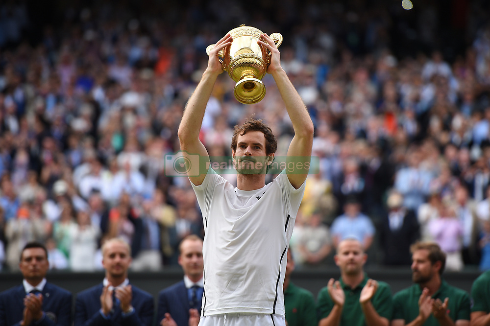 File photo - Andy Murray of Scotland wins his 2nd men final at the 2016 Wimbledon Championships at the AELTC in London, UK, on July 10, 2016. Murray defeated Canada's Milos Raonic 6-4, 7-6 (7/3), 7-6 (7/2). Andy Murray shocked the tennis world Friday morning in Melbourne when he announced his plans to retire this year during a tearful press conference ahead of the Australian Open. The former world No. 1 had hip surgery in January 2017 and says the pain has become too much to bear. Photo by Corinne Dubreuil/ABACAPRESS.COM