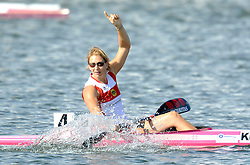 KATRIN WAGNER - AUGUSTIN (GERMANY) CELEBRATES VICTORY IN WOMEN'S K1 RELAY 200 METERS FINAL A RACE DURING 2010 ICF KAYAK SPRINT WORLD CHAMPIONSHIPS ON MALTA LAKE IN POZNAN, POLAND...POLAND , POZNAN , AUGUST 22, 2010..( PHOTO BY ADAM NURKIEWICZ / MEDIASPORT ).