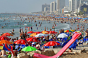 Israel, Tel Aviv, A sunny day on the beach Looking north from south