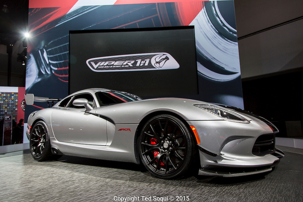 2016 Dodge Viper ACR . $118,795 USD with a V-10 engine that produces 645 hp.<br /> The 2015 Los Angeles Auto Show at the LA Convention Center.