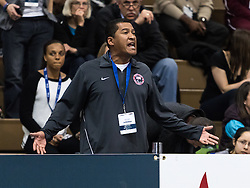 USATF Indoor Track & Field Championships: Hooper's coach Jeremy Fischer argues from stands