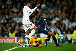 November 26, 2019, Madrid, MADRID, SPAIN: Kylian Mbappe of Paris Saint-Germain scores a goal during the UEFA Champions League football match, Group A, played between Real Madrid and Paris Saint-Germain at Santiago Bernabéu Stadium on November 26, 2019, in Madrid, Spain. (Credit Image: © AFP7 via ZUMA Wire)