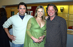 Left to right, producer RUSS MALKIN, SARAH VAUGHAN and actor CHARLEY BOORMAN at the Macmillan Cancer Relief Celebrity Christmas Stocking Auction held at Christie's, South Kensington, London on 8th December 2004.<br /><br />NON EXCLUSIVE - WORLD RIGHTS