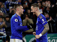 Jamie Vardy of Leicester City celebrates scoring their third goal his second with James Maddison of Leicester Cityduring the Premier League match at the King Power Stadium, Leicester. Picture date: 9th March 2020. Picture credit should read: Darren Staples/Sportimage