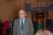 SIR DAVID HOCKNEY, Opening of David Hockney ' A Bigger Picture' Royal Academy. Piccadilly. London. 17 January 2012