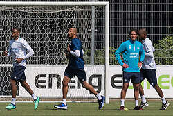 (L-R) Denzel Dumfries of PSV, goalkeeper Eloy Room of PSV, head of the youth department Ernest Faber of PSV, Pablo Rosario of PSV during a trainings session of PSV Eindhoven at the Herdgang on June 27, 2018 in Eindhoven, The Netherlands