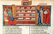 Monks and students in a library. 15th century manuscript of 'The Romance of Troy'.