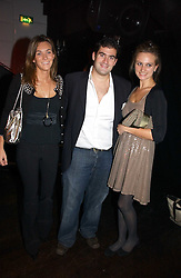 Left to right, CATHERINE MUNSEY, ZAFAR RUSHDIE son of writer Salman Rushdie and BRYONY DANIELS at a party to celebrate Zandra Rhodes's return to London Fashion week and the launch of a limited edition of M.A.C makeup at Silver, 17 Hanover Square, London W1 on 20th September 2006.<br />