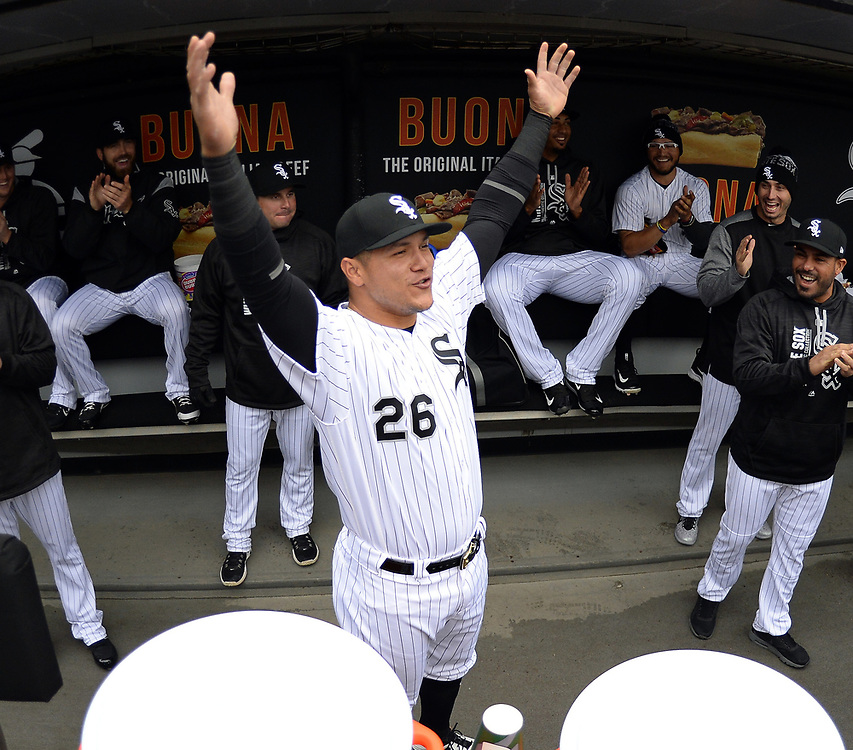 CHICAGO - APRIL 04:  Avisail Garcia #26 of the Chicago White Sox reacts to an announcement that he will be a new father prior to the game against the Detroit Tigers on April 04, 2017 at Guaranteed Rate Field in Chicago, Illinois.  The Tigers defeated the White Sox 6-3.  (Photo by Ron Vesely)   Subject:  Avisail Garcia